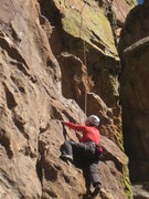 Rock Climbing Photo: Marsha below third bolt, 2013-10-27.  Photo by Mik...