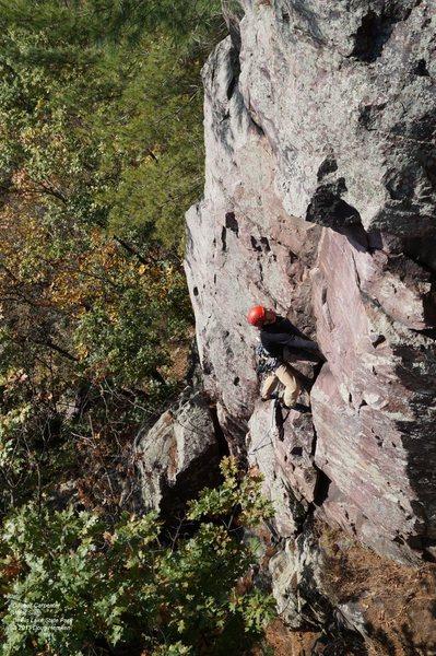 Rock Climbing Photo: Dunbar, sussing what lies ahead