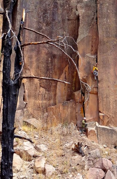 Just past the crux<br> Rich midway on<br> Romeo (5.9+)<br> Jason Halladay photo