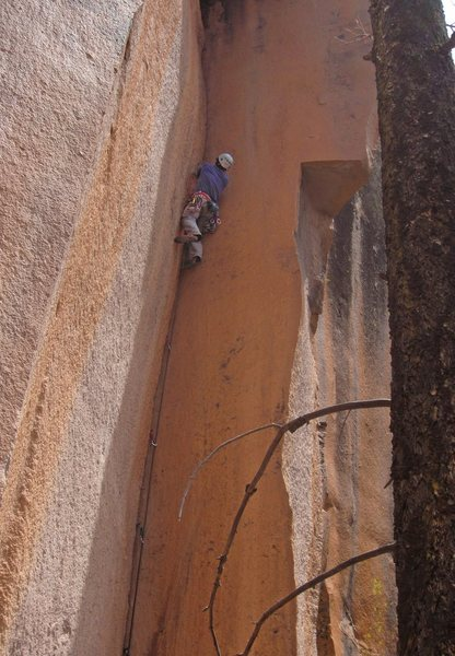 Rock Climbing Photo: Aaron in the crux thin hands corner - the 10 foot ...