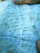"Rock Climbing Photo: Original summit register, FA account of ""The ..."