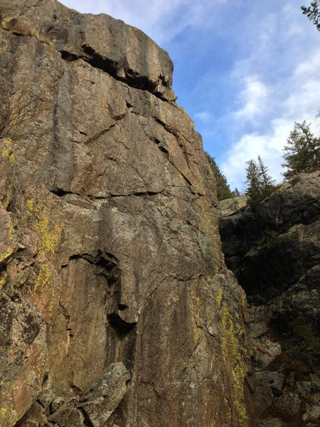 Rock Climbing Photo: Upper part of the wall with what I believe the thr...