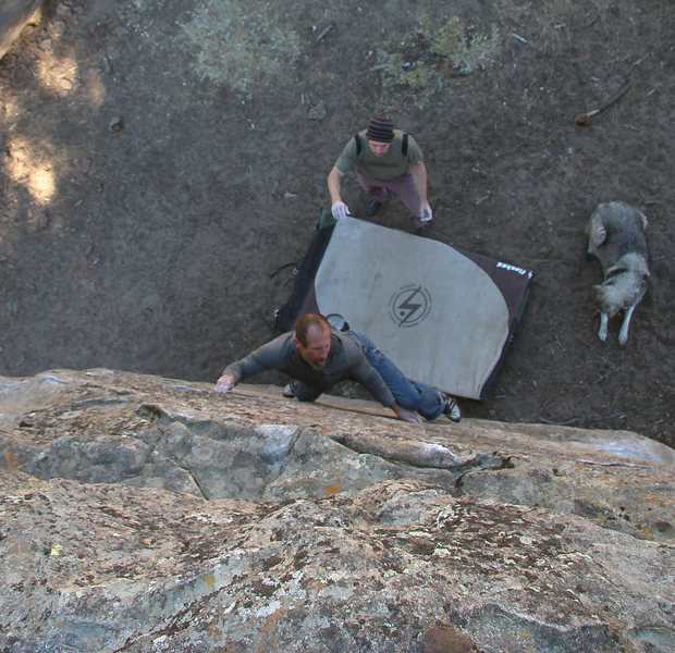 Rock Climbing Photo: Darren exhibiting pebble pinching prowess