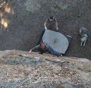 Rock Climbing Photo: Darren exhibiting pebble pinching prowess