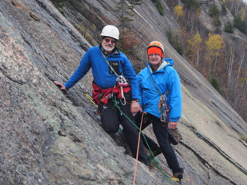 "The original ""Old Smokeys"" - Doug Burnell (left) and Doug Teschner at the Merlin rap/anchor after having climbed the route (""Holy Smoke, 5.5"") incorrectly attributed to them for 20 years. Their REAL ""Holy Smoke"" is part of Table Scraps and Picnic Table."