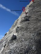 Rock Climbing Photo: Looking up the second pitch. It's run-out with one...