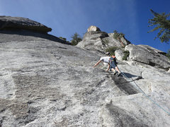 Rock Climbing Photo: Rick starting up the unprotected, but easy start, ...