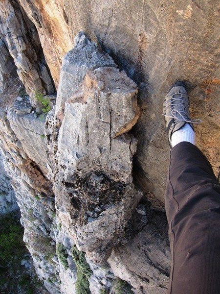 Rock Climbing Photo: Loose limestone block
