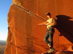 Rock Climbing Photo: Luke Lydiard at the start of Inigo Montoya after t...