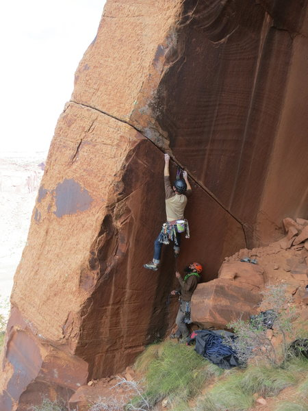 Luke Lydiard belayed by Chance Traub.