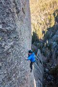 Rock Climbing Photo: Nate Erickson entering the 2nd crux of Vertigo.