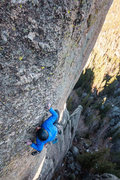 Rock Climbing Photo: Nate Erickson cranking through the 2nd crux in les...