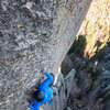 Nate Erickson cranking through the 2nd crux in less than warm conditions. 10/27/2013.