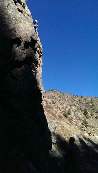 Rock Climbing Photo: Evan halfway up Lunch Money - Lower Capitalist Cra...
