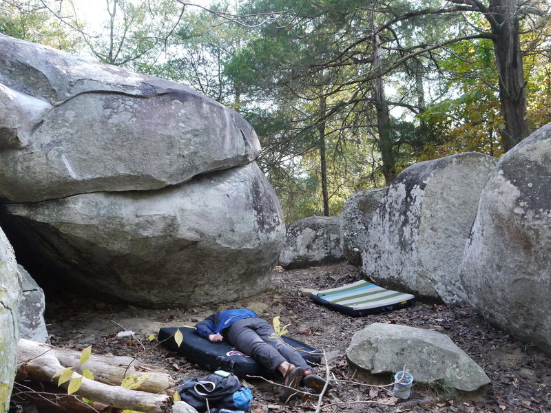 Second boulder from the right, great for warming up the arms
