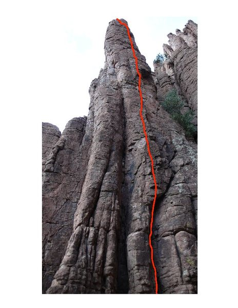 Rock Climbing Photo: Route topo not showing the lower cracks.