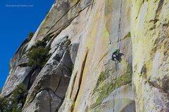 Rock Climbing Photo: Jeff Gicklhorn, high on The Emperor, The Needles (...