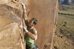 Rock Climbing Photo: Moving off that last ringlock to the thank-God jug...