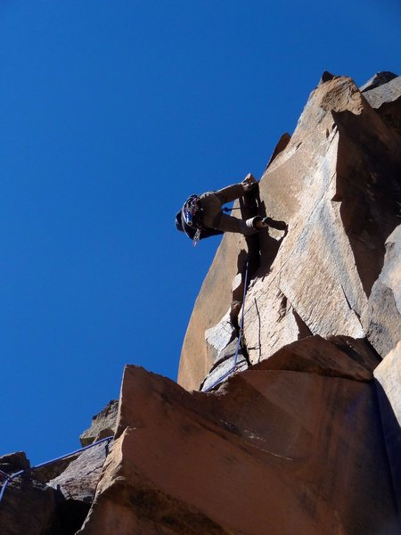 One of the two eponymous Germans successfully using foot-above-head technique on the crux.