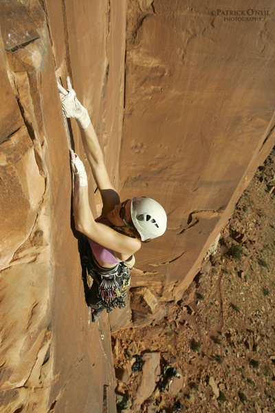 Rock Climbing Photo: Megan setting that final lock before the jug and t...