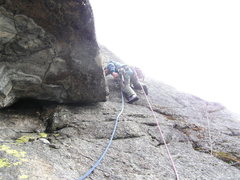 Rock Climbing Photo: Kyle Flick turning the upper roof on Idiot's Delig...
