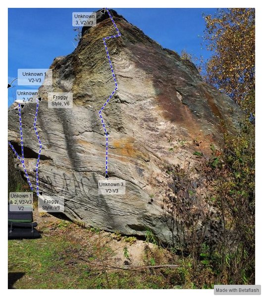 Large Boulder 1. The V2-3 and V2 are probably further to the left than in the picture.