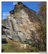 Rock Climbing Photo: Large Boulder 1. The V2-3 and V2 are probably furt...