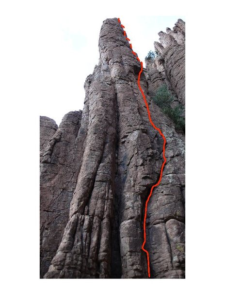 Rock Climbing Photo: Route topo not showing the lower crack part.