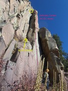 Rock Climbing Photo: Exploring the line for the first time.  You can se...