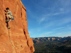Rock Climbing Photo: Austin nearing the top of P2 on a pitch 1 and 2 li...