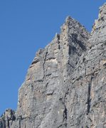 Rock Climbing Photo: Upper portion of the Punta Fiames, shows the chimn...