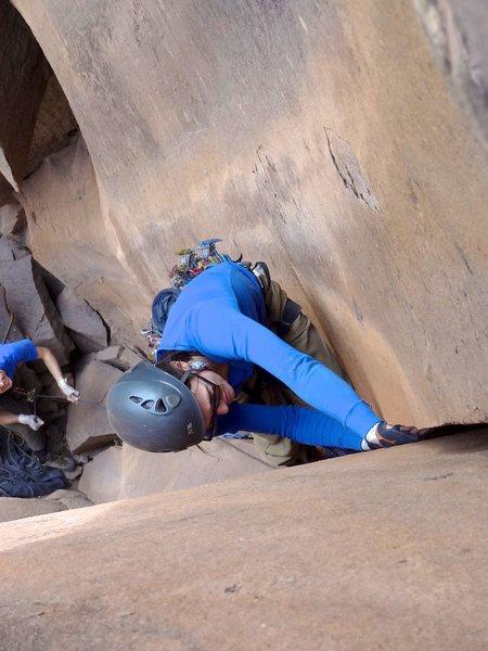 Claudia jamming through the crux. December 2012.