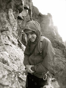 Rock Climbing Photo: Enjoying a cold day on The Saber. RMNP