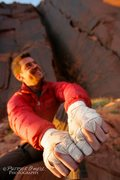 Rock Climbing Photo: Ryan showing off his mitts after onsighting Meat H...