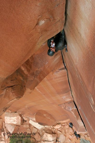 Rock Climbing Photo: Jon leading Incredible Hand Crack. Like a boss.