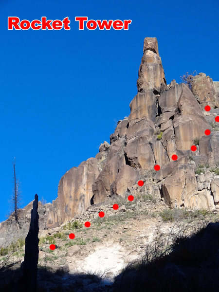 Rock Climbing Photo: Rocket Tower seen from the bottom of the canyon. T...