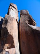Rock Climbing Photo: The step across from the lower summit to the highe...