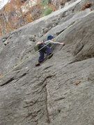 Rock Climbing Photo: Zackary just above the pin on Holy land