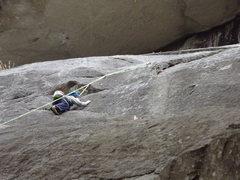 Rock Climbing Photo: Zackary approaching the anchors