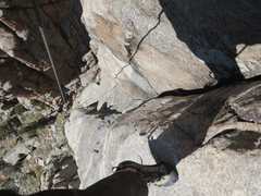 Rock Climbing Photo: Looking down from about 3/4 of the way up at the c...