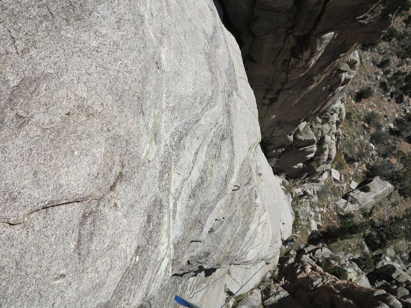 Looking down at the superb rock quality of the lower half of the route.