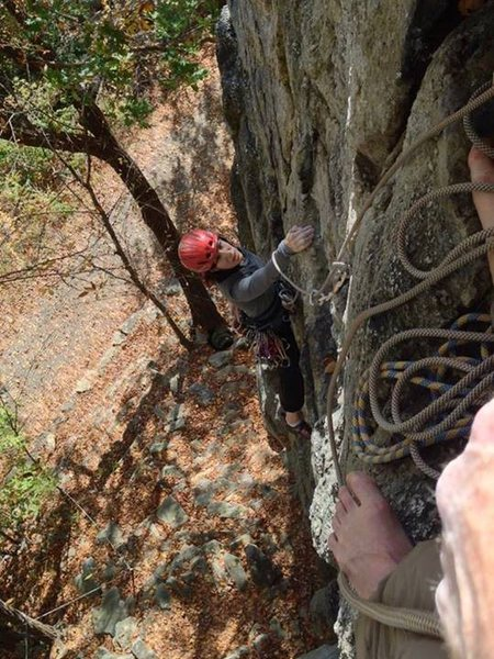 Rock Climbing Photo: Gblauer following Red Cabbage Right, near the top....