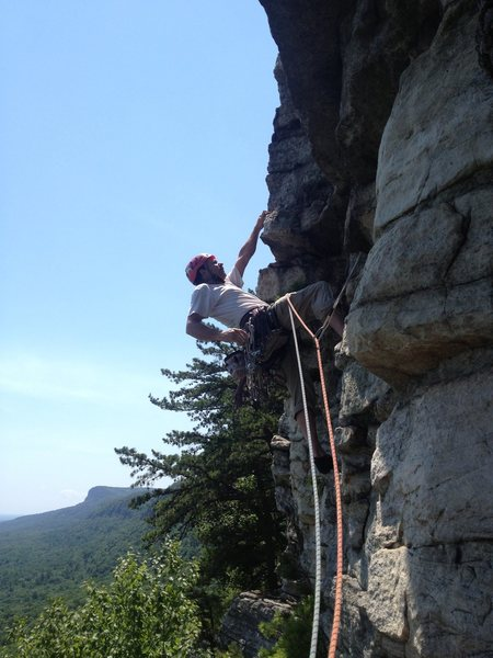 Mitch leading P2 of Belly Roll.  Happy, fun, juggy exposed climbing all at a 5.3!