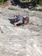 Rock Climbing Photo: Emma following P2 of Dennis. Nice and exposed.