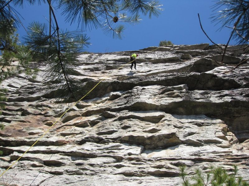 Rock Climbing Photo: Gail rapping into Millbrook.  Takes a single line....