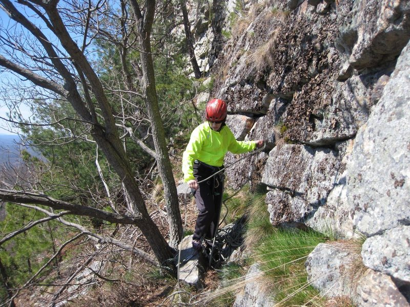 "Rock Climbing Photo: Gail flaking the rope on the ""death"" led..."
