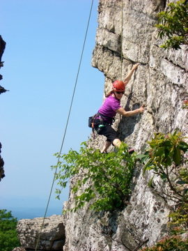 Gail following some unnamed climb at Bonticou.  Plenty of climbs out there on high quality rock