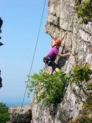 Rock Climbing Photo: Gail following some unnamed climb at Bonticou.  Pl...