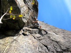 Rock Climbing Photo: Digging P3 on a perfect fall day.