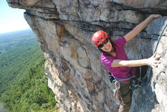 Rock Climbing Photo: Gail topping out on P2 of CCK